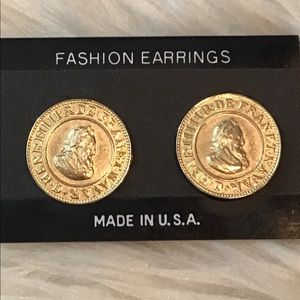 Vintage 90s Gold Tone Coin Disc Earrings